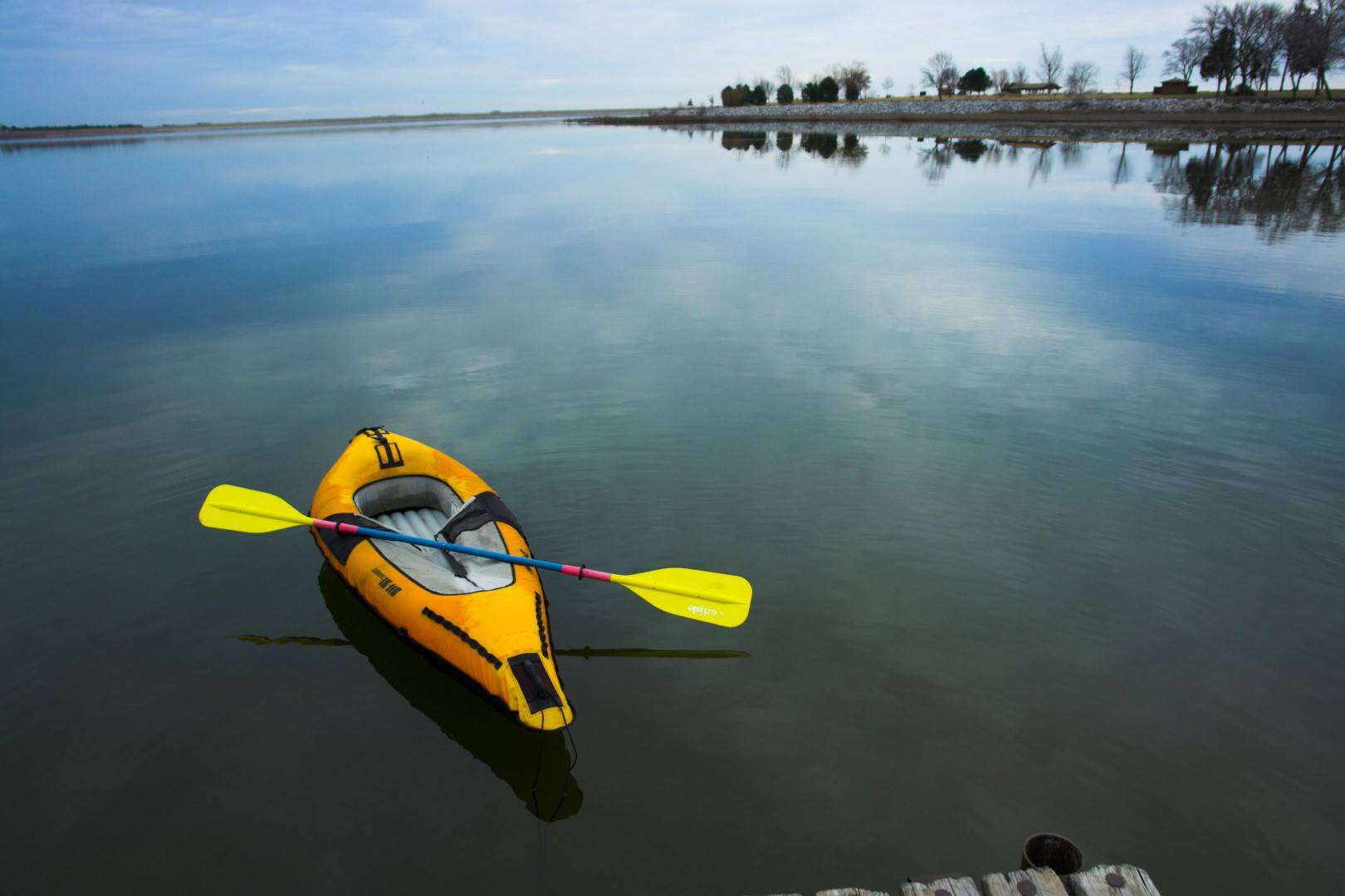 Inflatable Kayak on a Lake in Nebraska