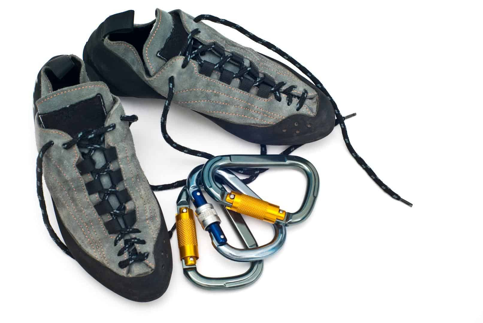 Rock Climbing Shoes and Carabiners