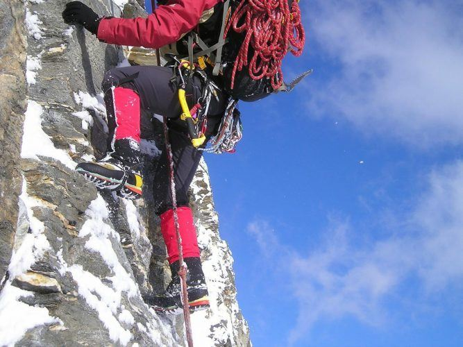 Climbing with full equipment