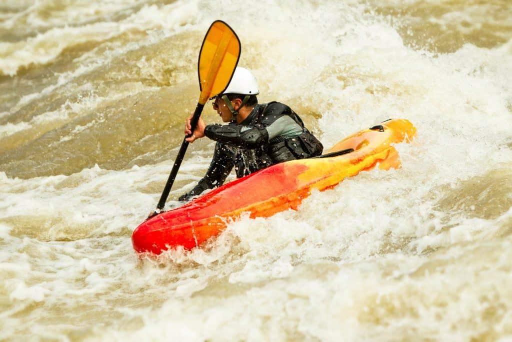 Dangerous rapids kayaking