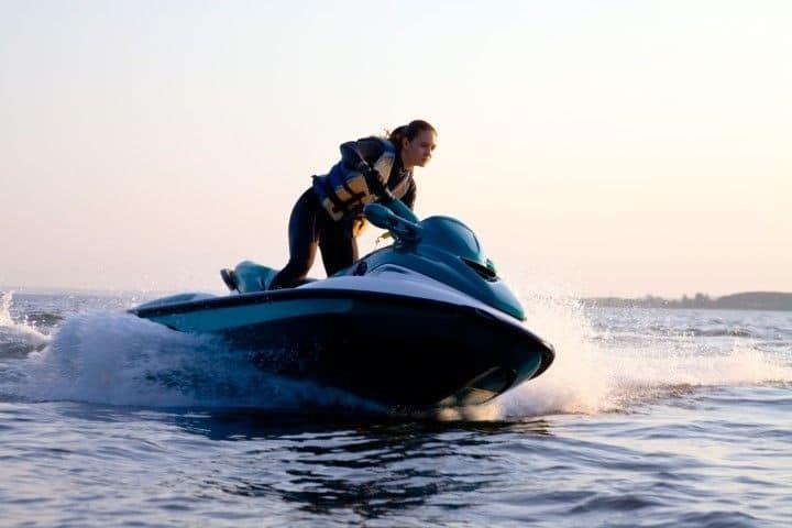 Jet ski woman with life vest